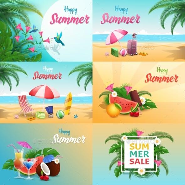 Summer Relax Vector Banners Set