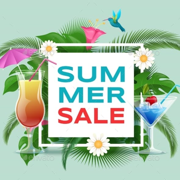 Summer Cocktails Sale Vector Banner Template