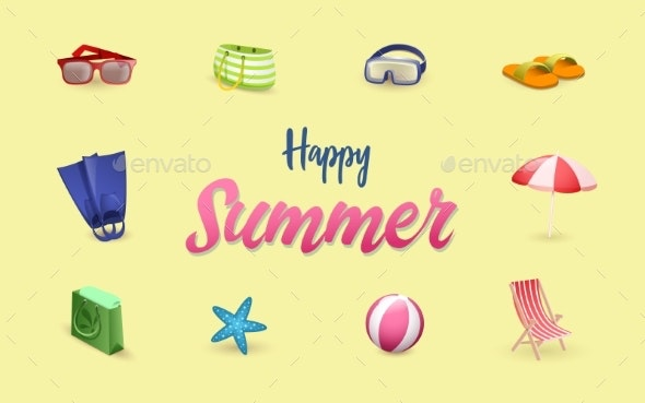 Summer Accessories Vector Banner Template - Miscellaneous Seasons/Holidays