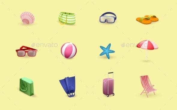 Summertime Relax Vector Illustrations Set - Miscellaneous Seasons/Holidays