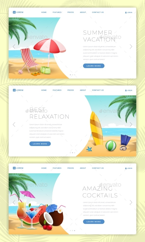 Summer Vacation Landing Pages Set - Sports/Activity Conceptual