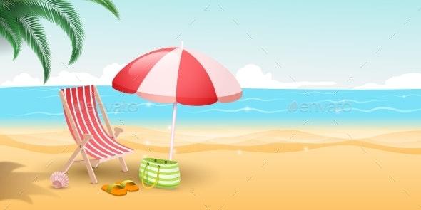Tropical Island Resort Vector Illustration - Seasons/Holidays Conceptual