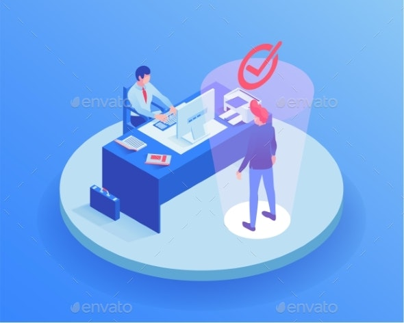 Candidate at Job Interview Isometric Illustration - Concepts Business