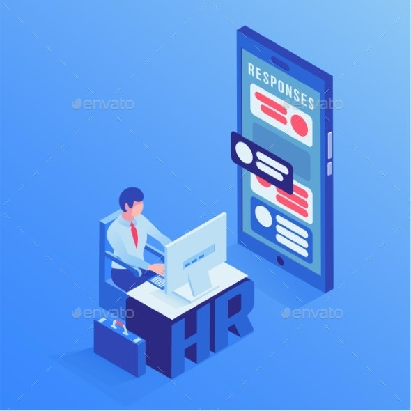 HR Agent Office Isometric Vector Illustration - Concepts Business