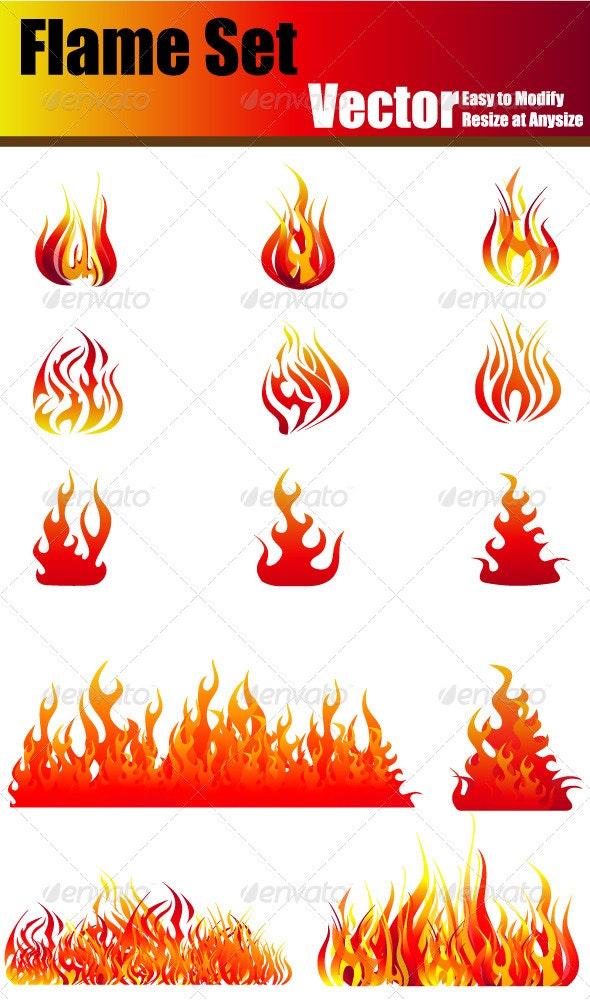 Vector Flame Set - Nature Conceptual