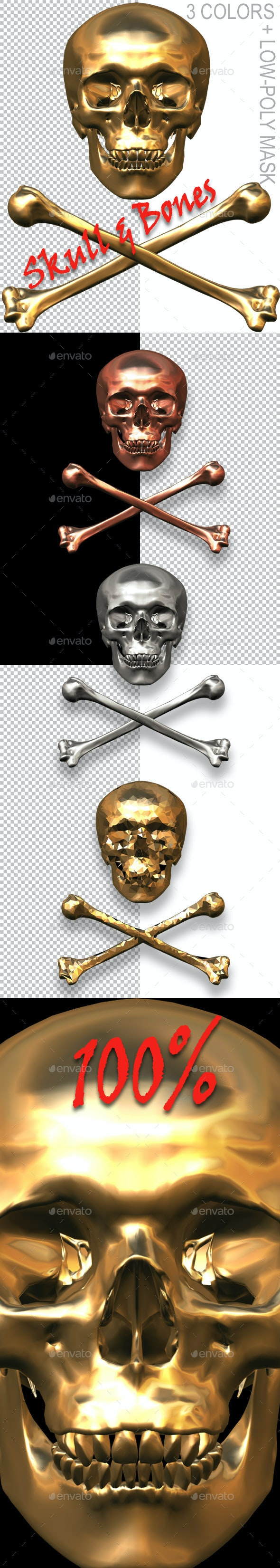 Skull And Crossed Bones - 3D Renders Graphics