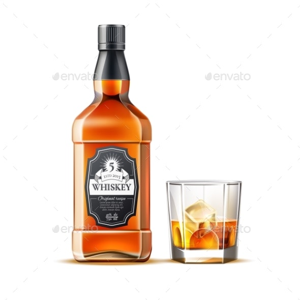 Vector Realistic Whiskey, Rum or Brandy Bottles - Food Objects