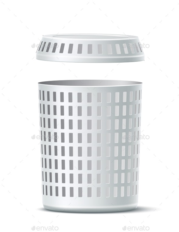 Empty White Laundry Basket - Man-made Objects Objects
