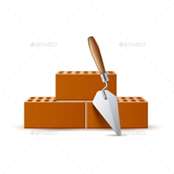 Vector Trowel with Bricks Industrial Work - Industries Business