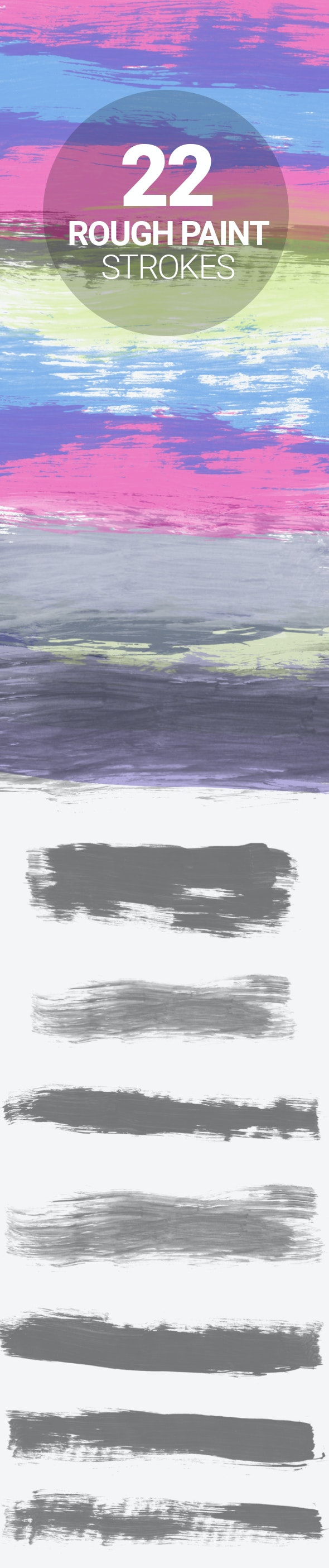 22 Rough Paint Strokes - Artistic Brushes
