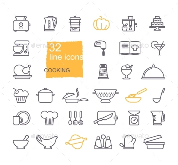 Cooking And Kitchen Icon Set By Klavapuk Graphicriver