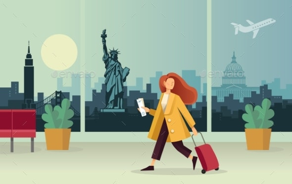 The Girl with the Suitcase at the Airport - Travel Conceptual