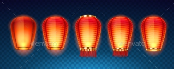 Set of Isolated Chinese or Sky Kongming Lanterns - Miscellaneous Seasons/Holidays