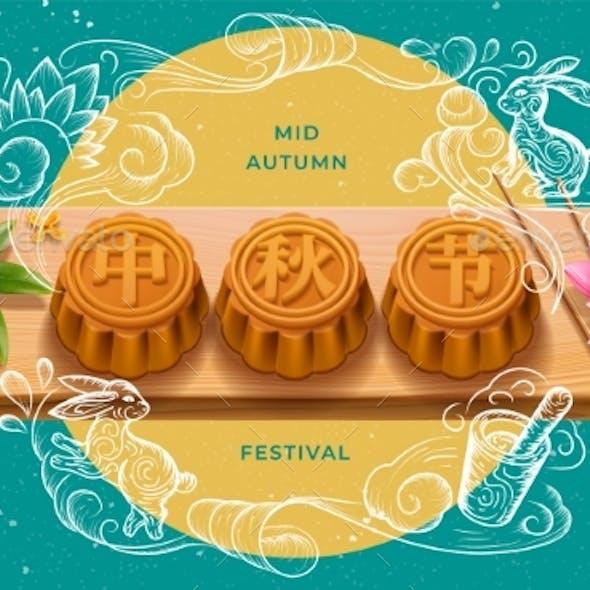 Full Moon Mooncakes at Mid Autumn Festival Card