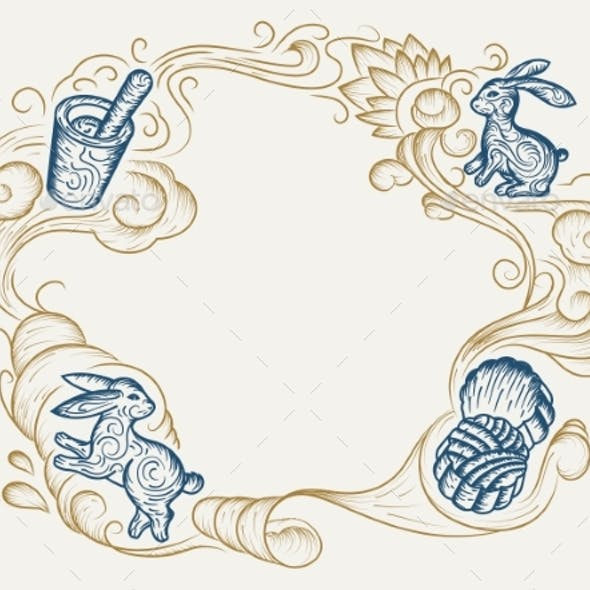 Sketch Background for Mid Autumn Festival Holiday