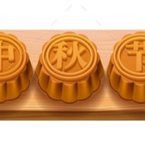Mooncakes with Calligraphy Mid Autumn Festival