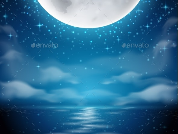 Night Background with Moon and Sea - Landscapes Nature