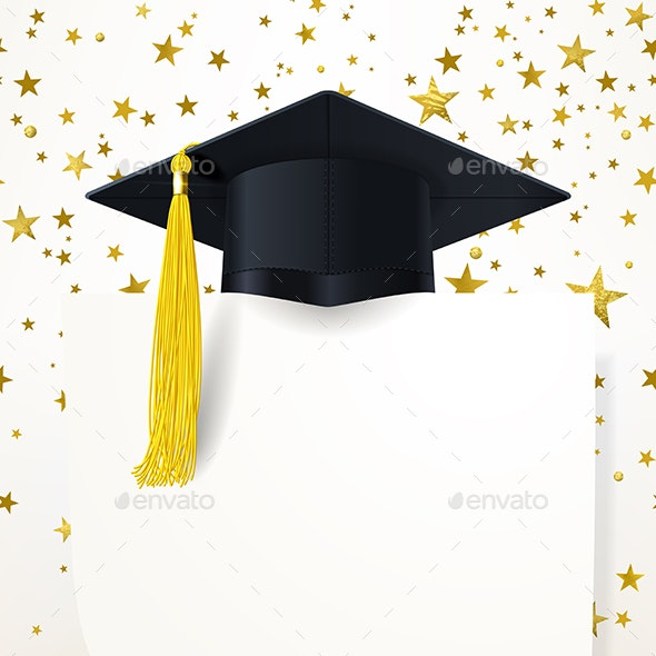 Graduate Cap with  Diploma on the Background of Gold Stars - Miscellaneous Vectors