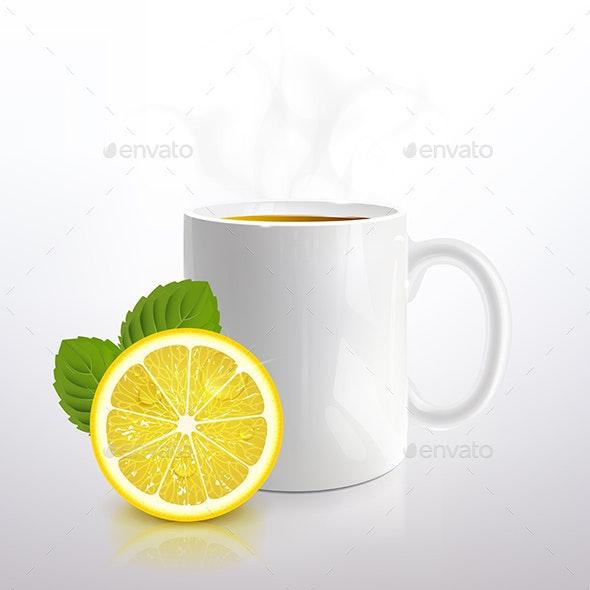 White Mug of Tea with Lemon and Mint - Food Objects
