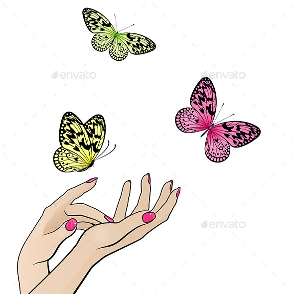 Female Hands with Flying Colorful Butterflies - Miscellaneous Seasons/Holidays