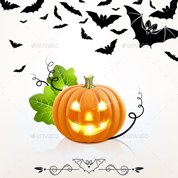 Halloween Pumpkin on a Background of Bats - Halloween Seasons/Holidays