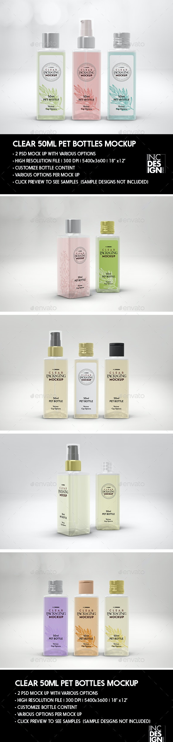 Clear 50ml Square PET Bottles Packaging Mockup - Beauty Packaging
