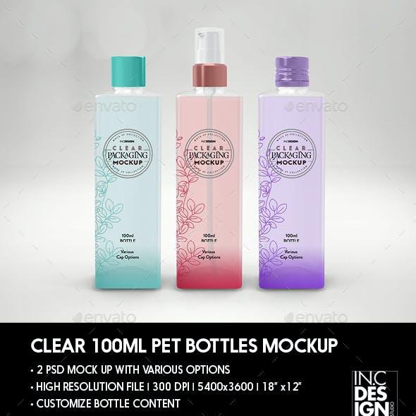 Clear 100ml Square PET Bottles Packaging Mockup