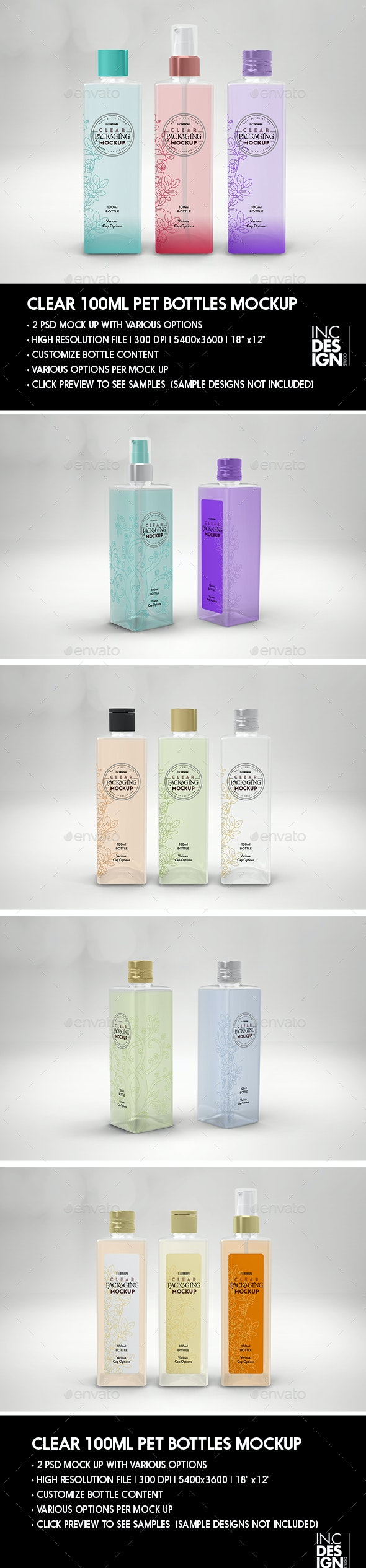 Clear 100ml Square PET Bottles Packaging Mockup - Beauty Packaging