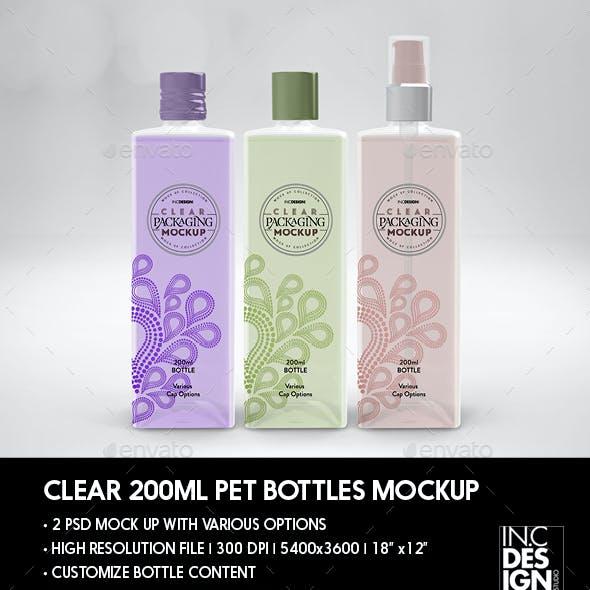 Clear 200ml Square PET Bottles Packaging Mockup
