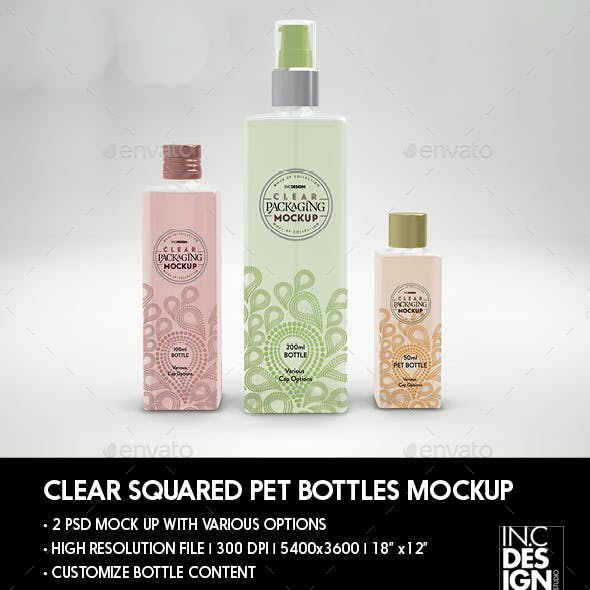 Clear Square PET Bottles 3 sizes Packaging Mockup