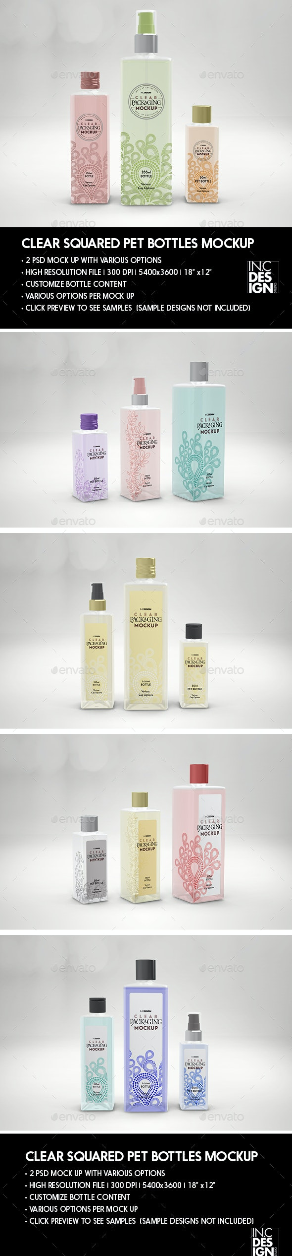 Clear Square PET Bottles 3 sizes Packaging Mockup - Beauty Packaging
