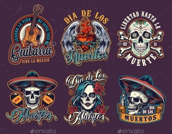 Mexican Day of Dead Vintage Emblems - Miscellaneous Vectors