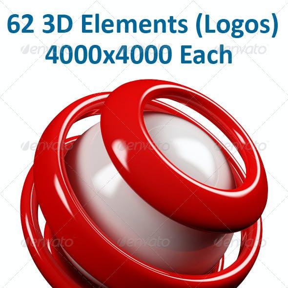62 3D Elements (Logos)