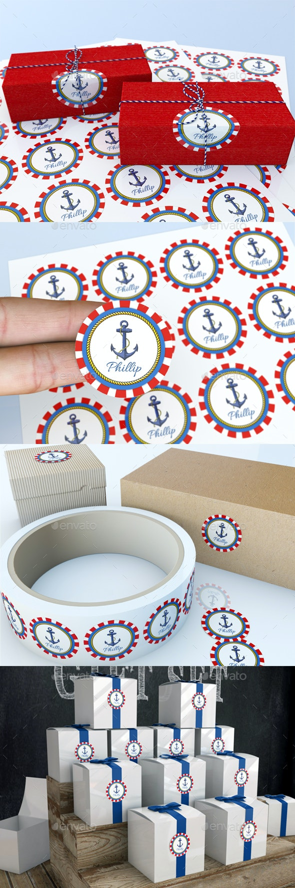 Round Circular Labels and Stickers Mock-Up - Signage Print