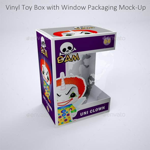 Vinyl Toy Box with Die Cut Window Packaging Mock-Up