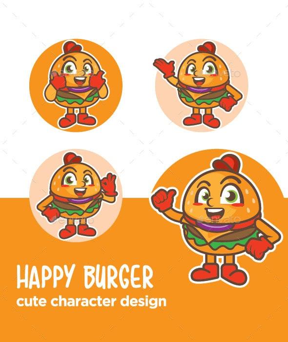 Burger Mascot Character Cartoon - Food Objects