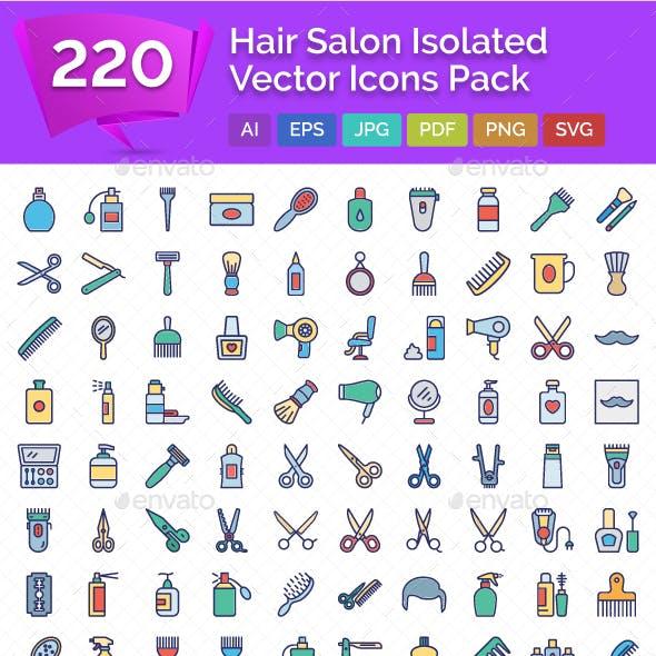 220 Hair Salon Isolated Vector Icons Pack