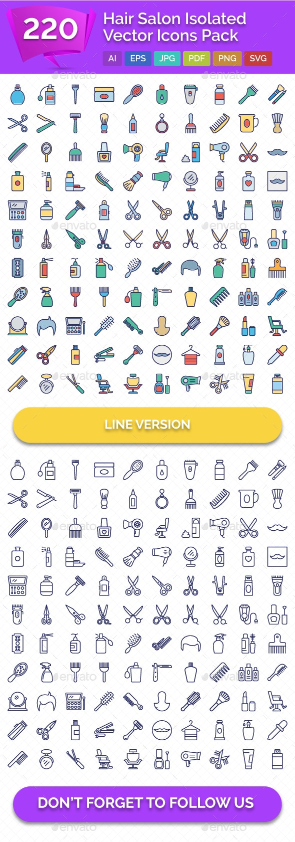 220 Hair Salon Isolated Vector Icons Pack - Icons