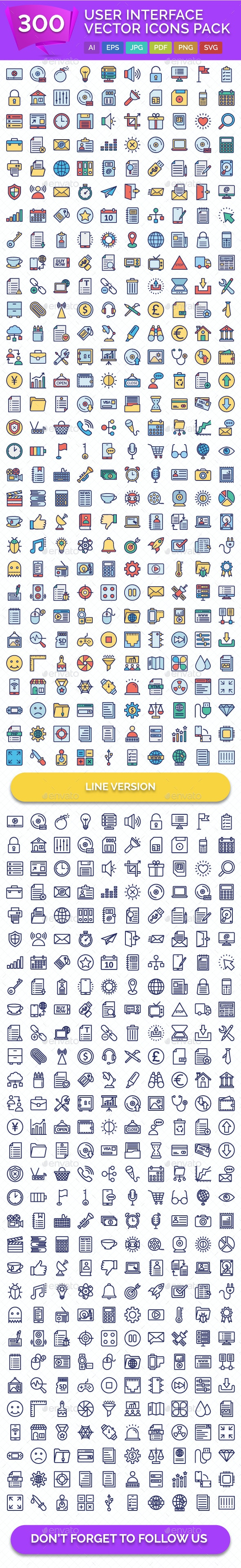 300 User Interface Vector Icons Pack - Icons
