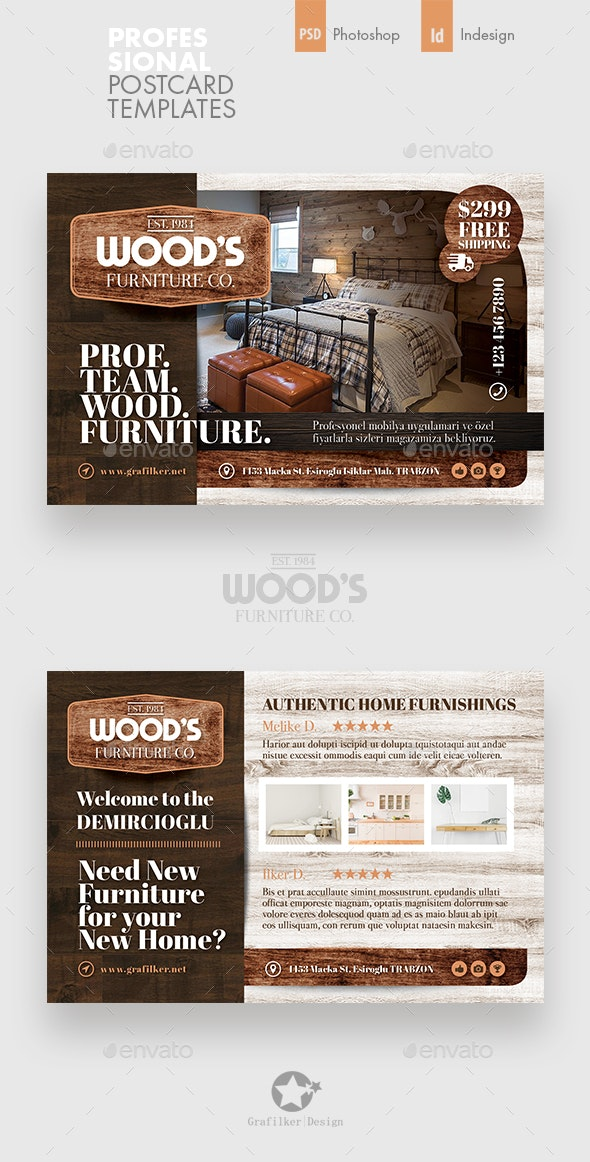 Wood Furniture Postcard Templates - Cards & Invites Print Templates