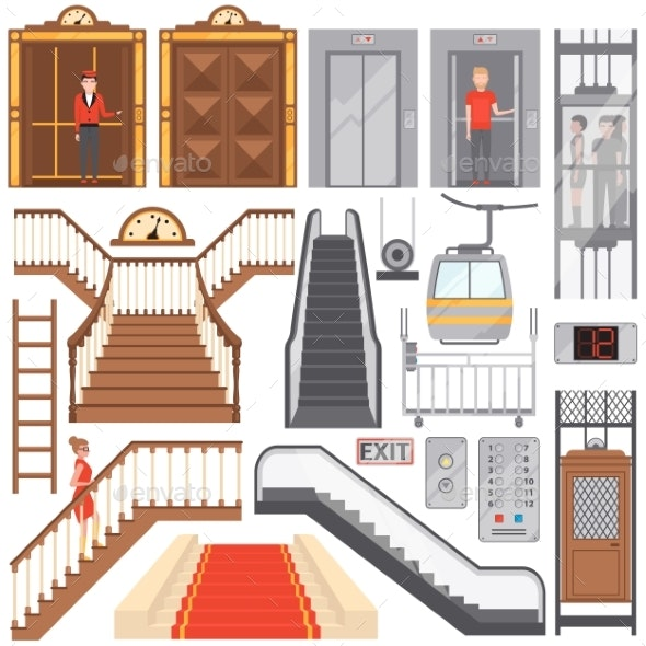Modern Elevators and Luxurious Staircases Set - Backgrounds Decorative