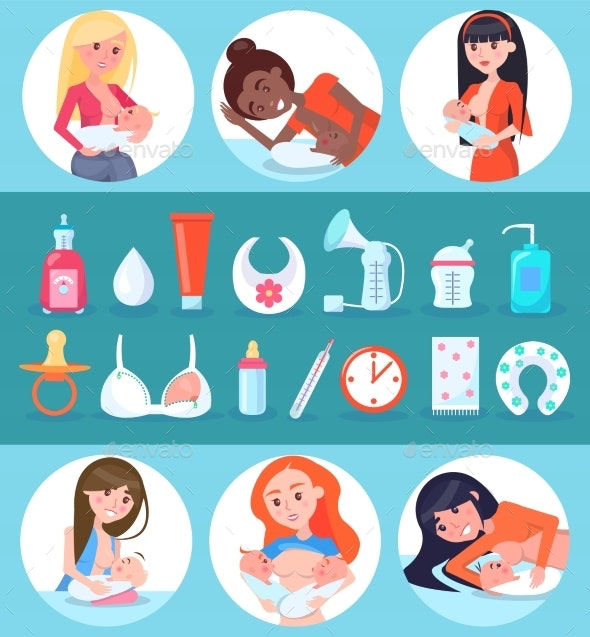 Breastfeeding and Children Set Vector Illustration - Miscellaneous Vectors
