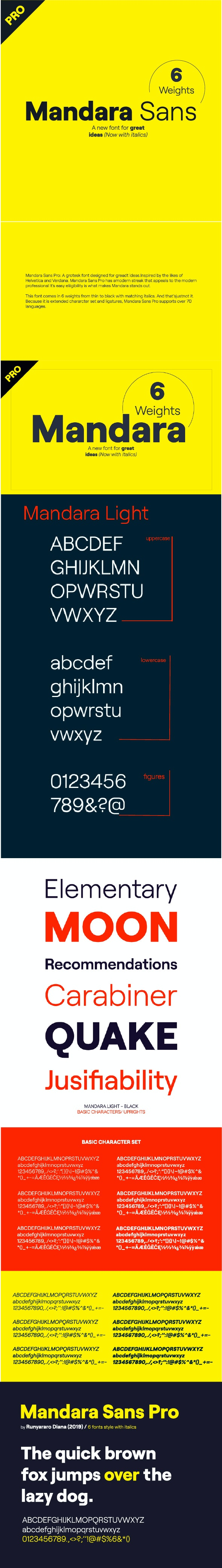 Mandara Sans Pro (6 weights with italics) - Miscellaneous Sans-Serif