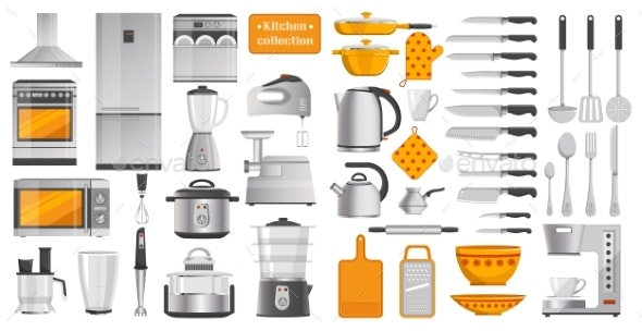 Set of Different Kitchen Tools Vector Illustration - Objects Vectors
