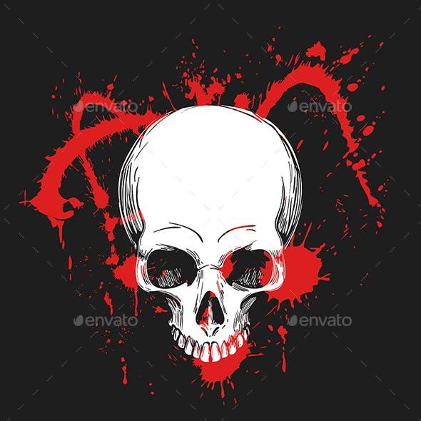 Human Skull in Blood Splashes