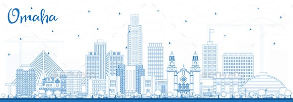 Outline Omaha Nebraska City Skyline with Blue Buildings - Buildings Objects