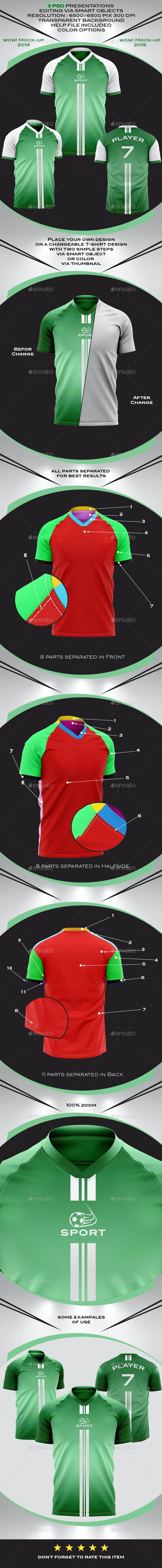 Men's Soccer Jersey V-Neck Mock-up - Product Mock-Ups Graphics