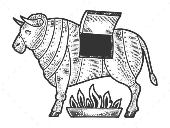 Brazen Bull Torture Device Sketch Vector - Miscellaneous Vectors