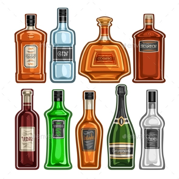Vector Set of Different Bottles - Food Objects