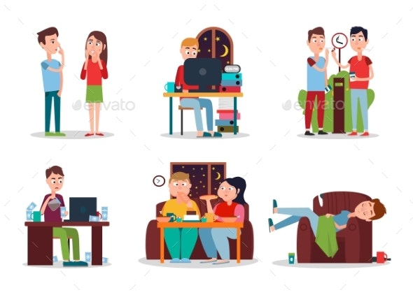 Set of Colorful Cards with People with Bad Habits - Miscellaneous Vectors